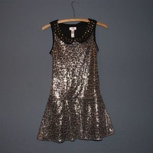 JUSTICE Leopard Sequin Sleeveless Dress 10 NEW NWT